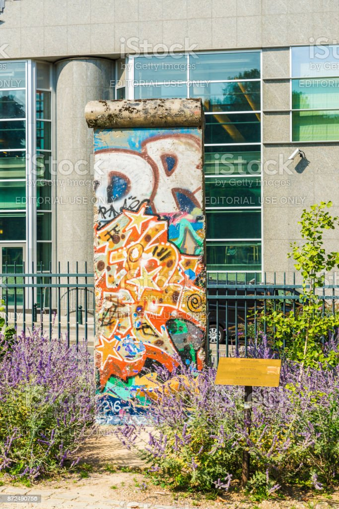 Piece of the Berlin Wall in the European Parliament building in Brussels, Belgium stock photo