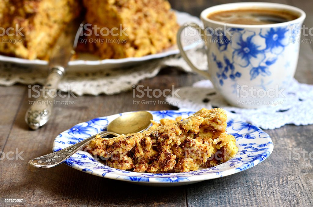 Piece of the cake ''Anthill'' on a colorful plate. stock photo