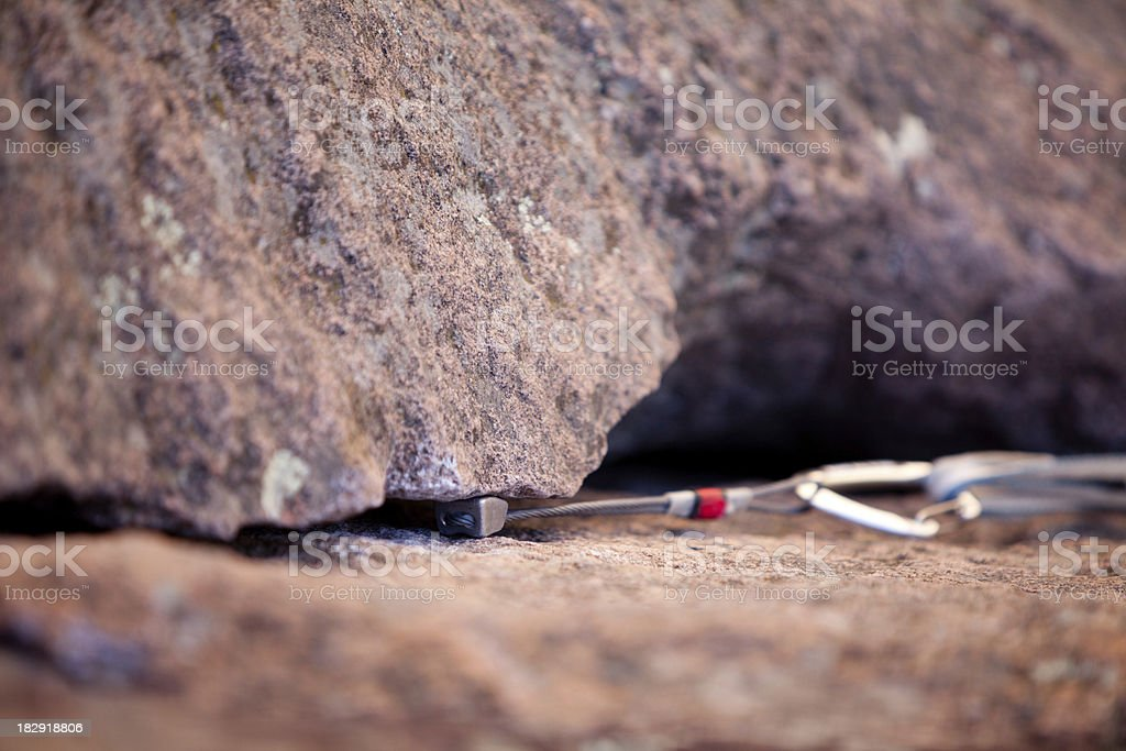 Piece of trad climbing gear close up royalty-free stock photo