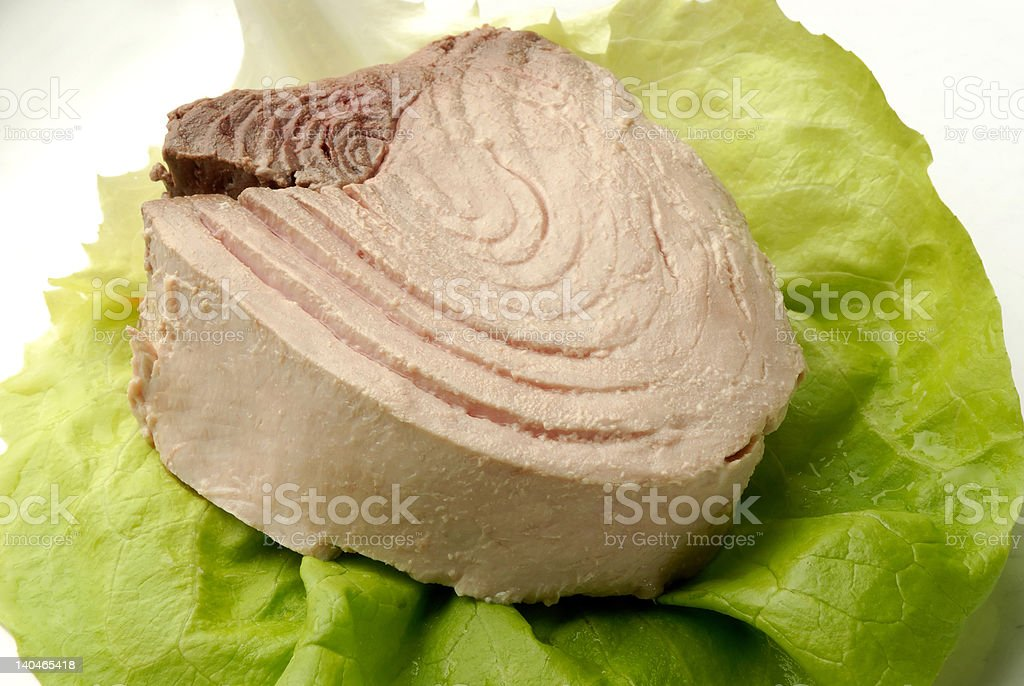 Piece of tuna on a salad lief royalty-free stock photo