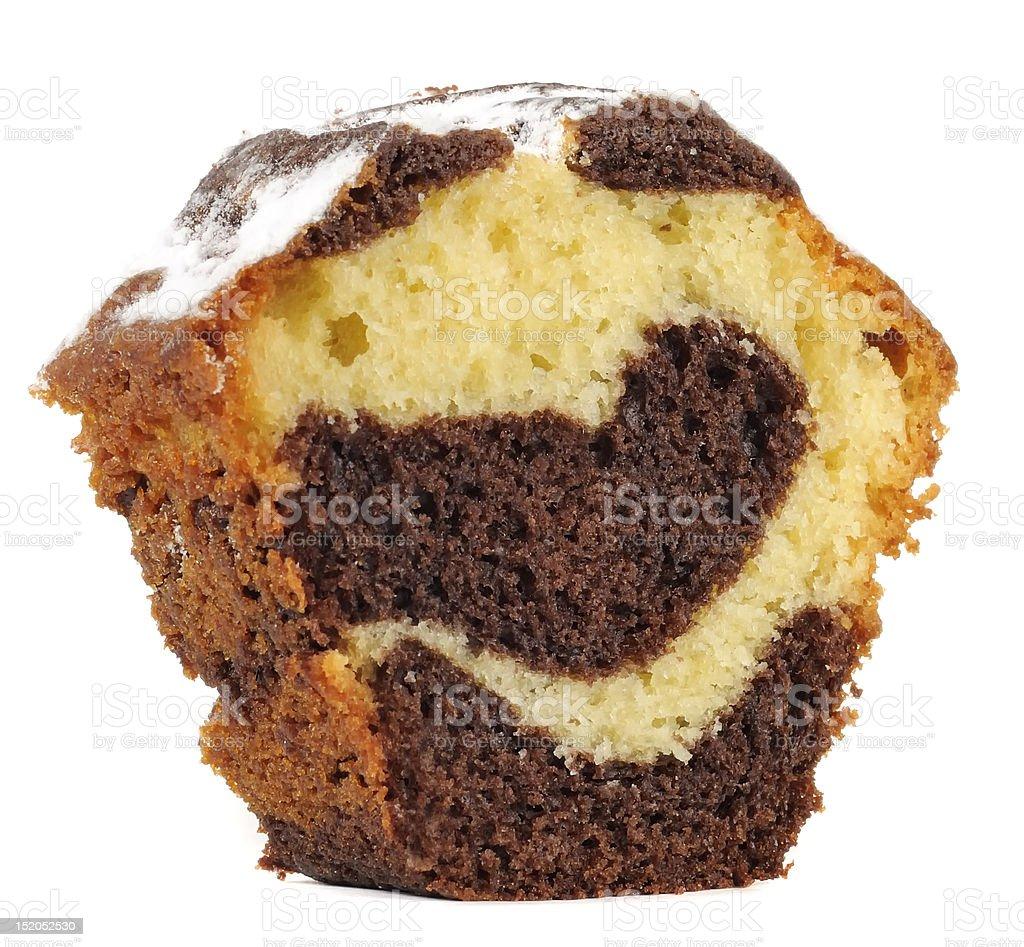 Piece of Vanilla and Chocolate Sponge Cake royalty-free stock photo