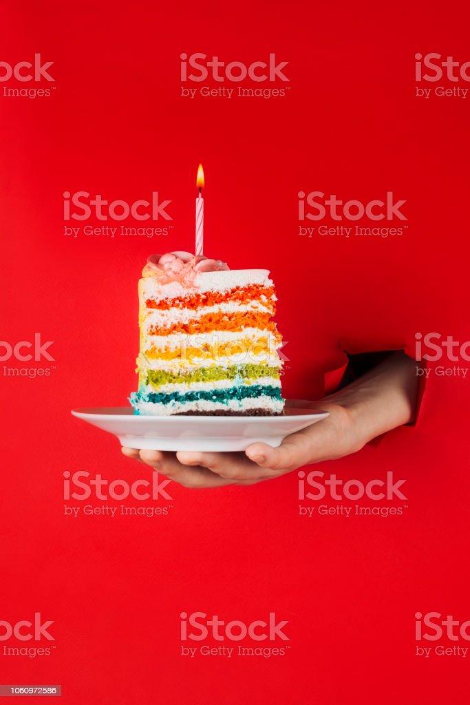 Fantastic Piece Of Vegan Rainbow Birthday Cake In Womans Hand Through Torn Birthday Cards Printable Opercafe Filternl