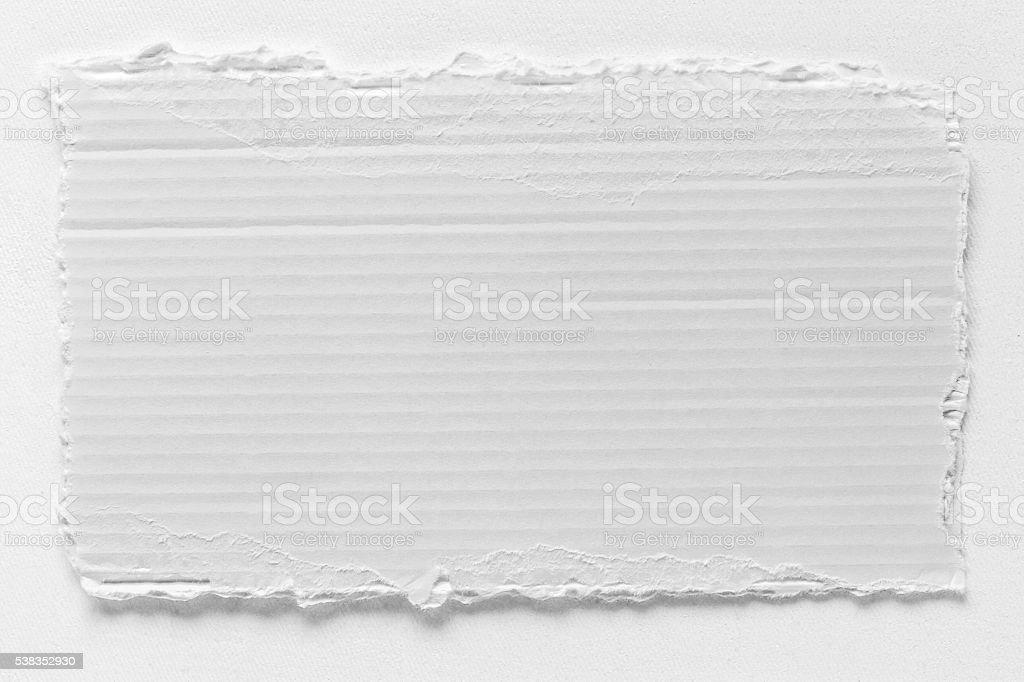 Piece of white cardboard tear texture stock photo