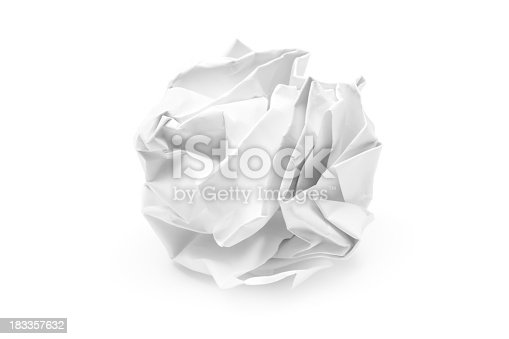 Crumpled paper ball. White background.