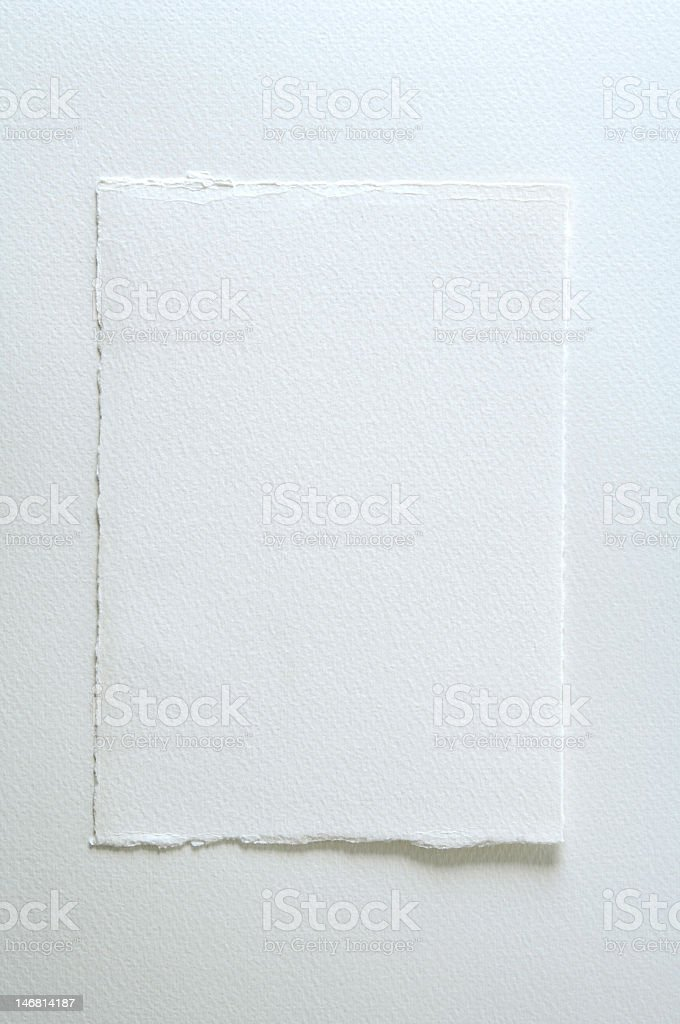 Piece of white watercolor paper on white background stock photo