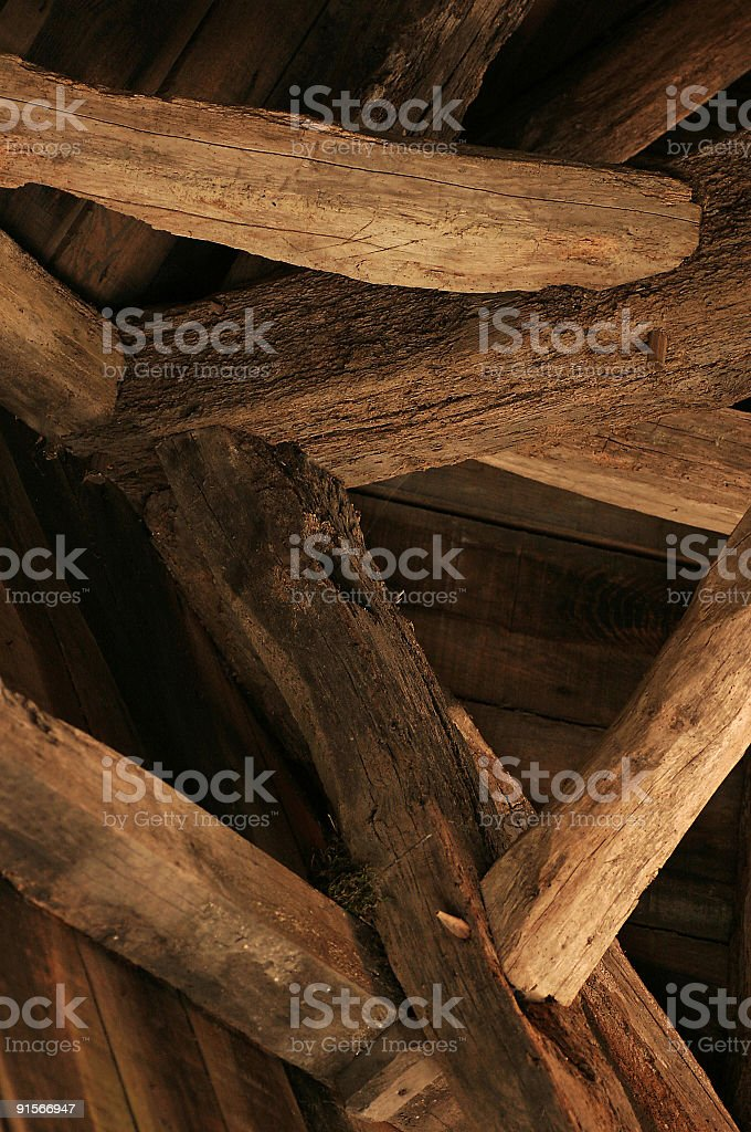 piece of wooden roof construction royalty-free stock photo