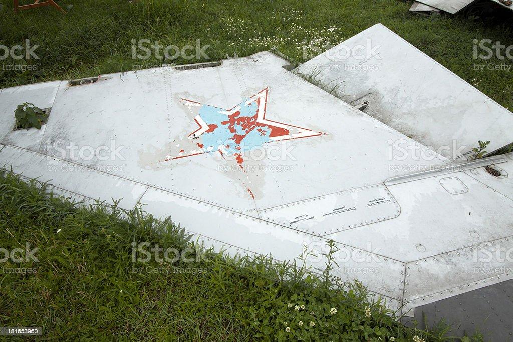 Piece of wreckage a Soviet airplane stock photo