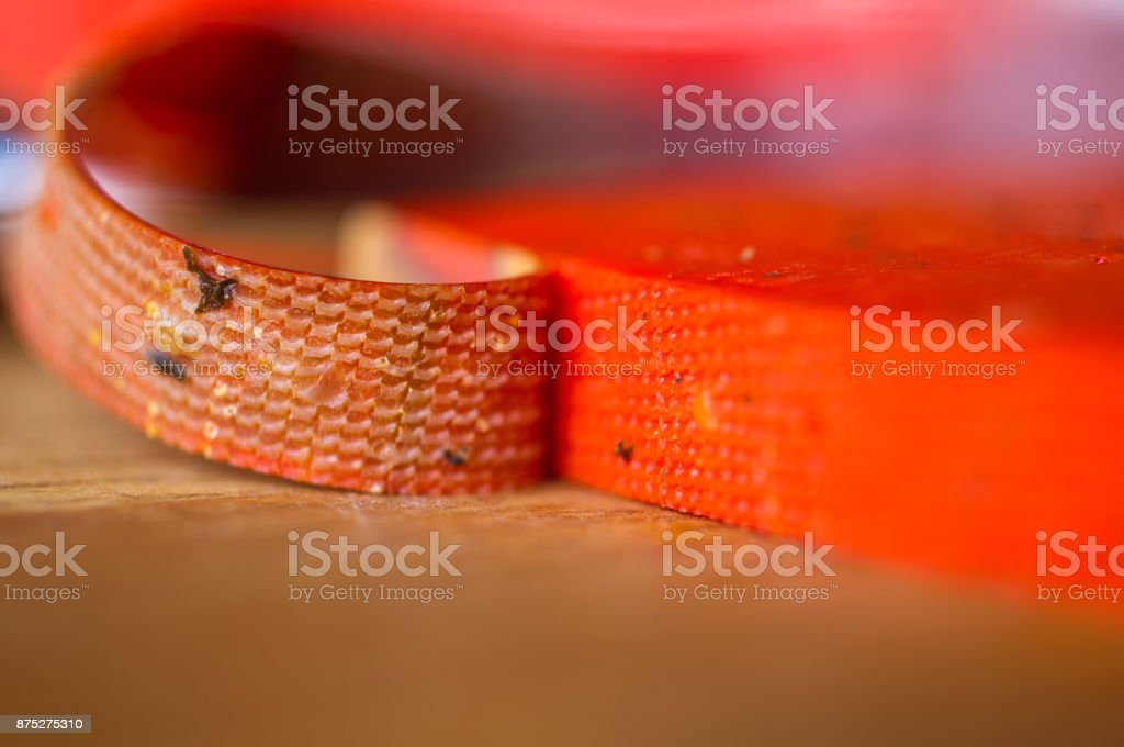 Piece solid red Pesto cheese Basiron stock photo