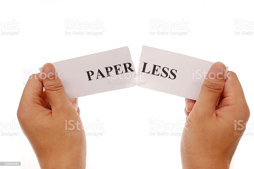 piece up the words paper and less together royalty-free stock photo