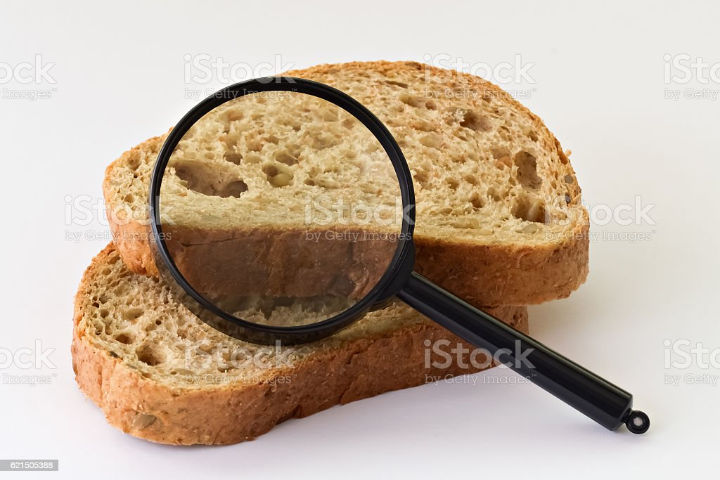 Pieces of bread and magnifier foto stock royalty-free
