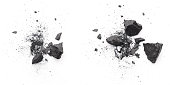 istock Pieces of broken black coal isolated on white background 1264991511