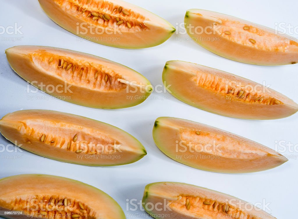 pieces of cantaloupe place orderly royalty-free stock photo