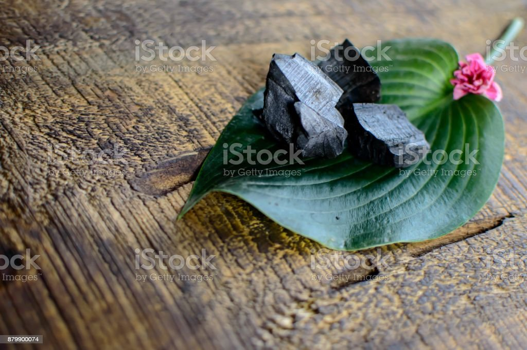 Zen-like tropical plant leaves and pieces of coal for activated...