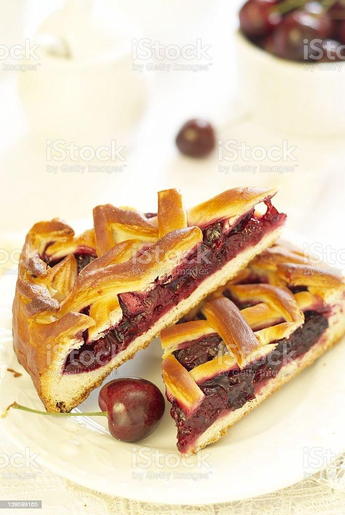 Pieces of cherry pie royalty-free stock photo