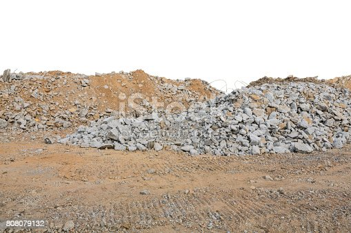 istock Pieces of concrete and brick rubble debris on construction site isolated on white 808079132