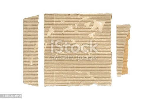 Pieces of corrugated cardboard, isolated on white background