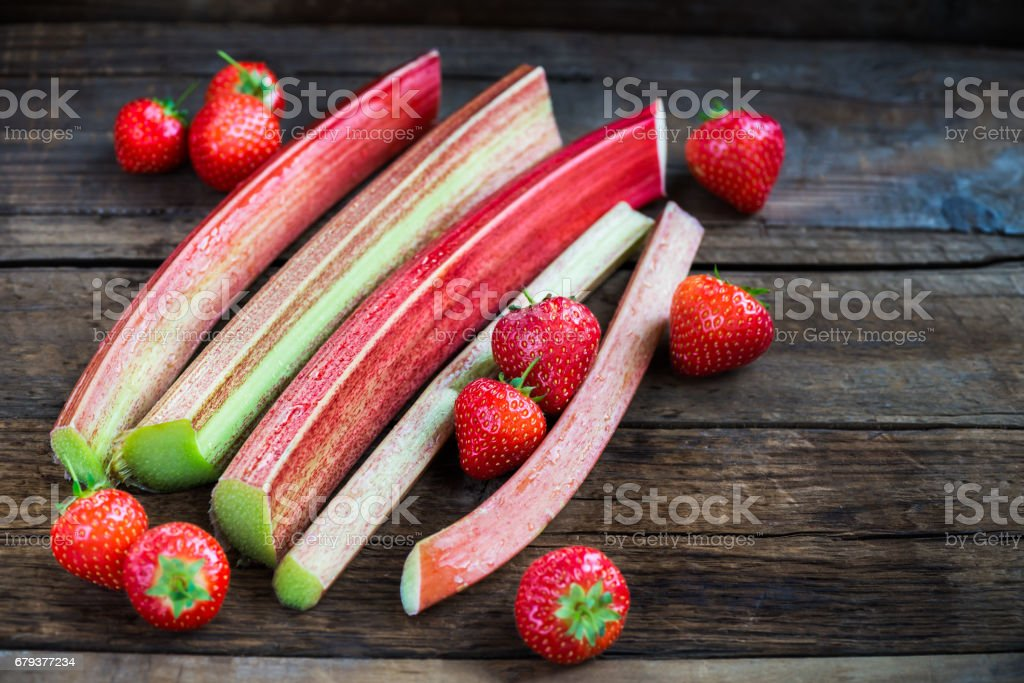 Pieces of Cut Rhubarb and Strawberries royalty-free stock photo