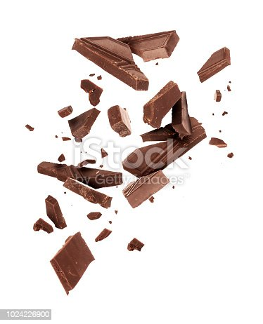 istock Pieces of dark chocolate falling close up on a white background 1024226900