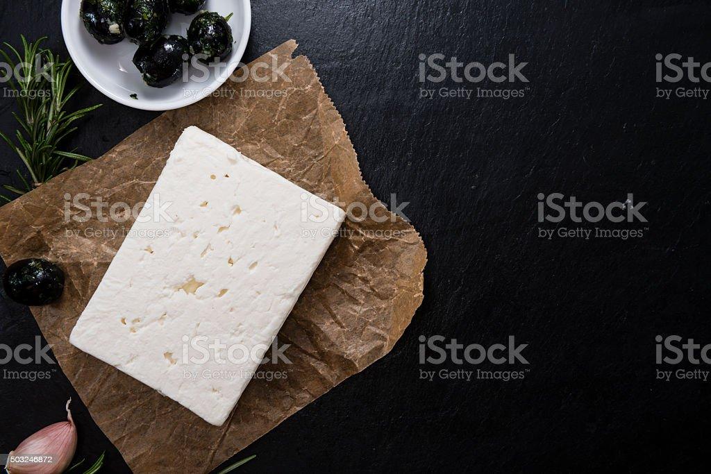 Pieces of fresh feta cheese stock photo
