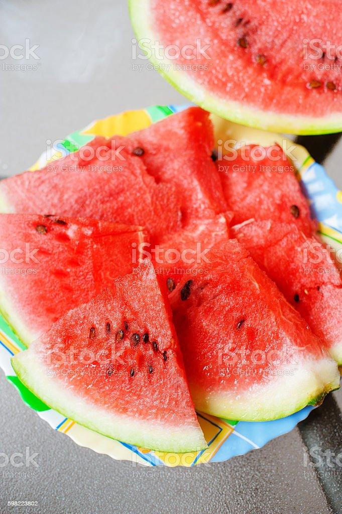 Pedaços de melancia fresca como pano de fundo foto royalty-free