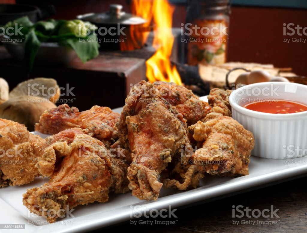 pieces of fried chicken stock photo