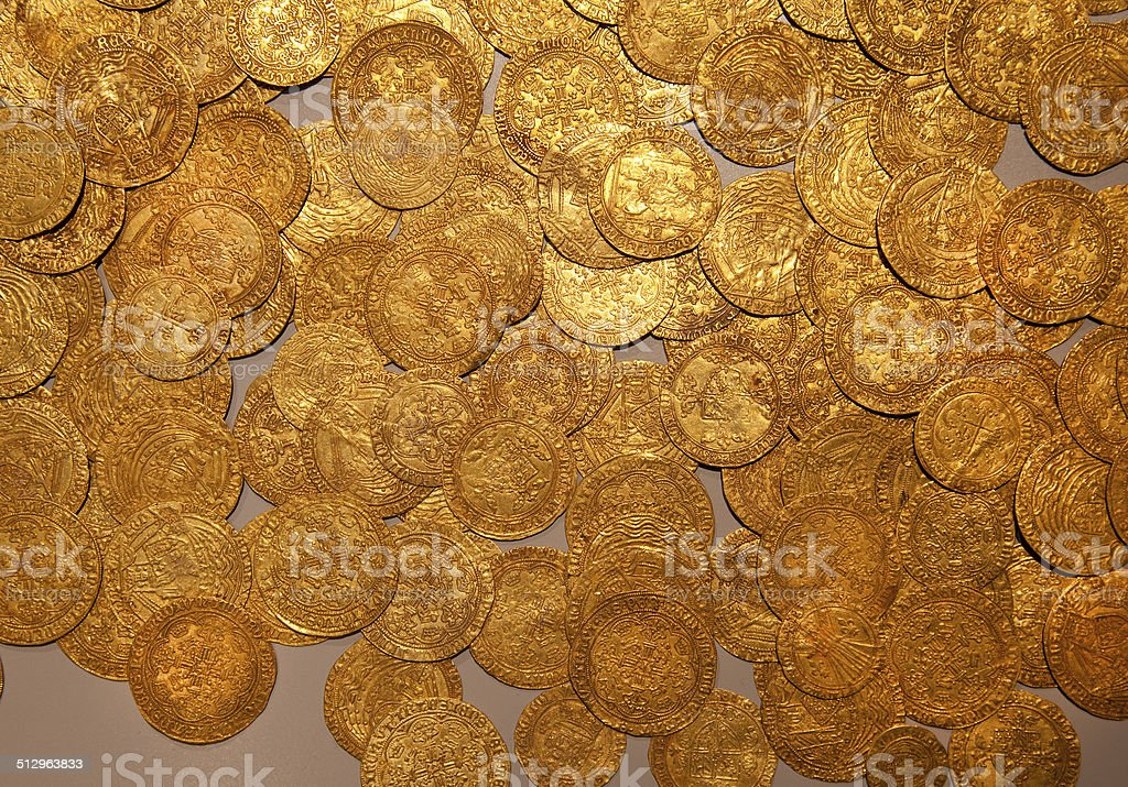 pieces of gold stock photo