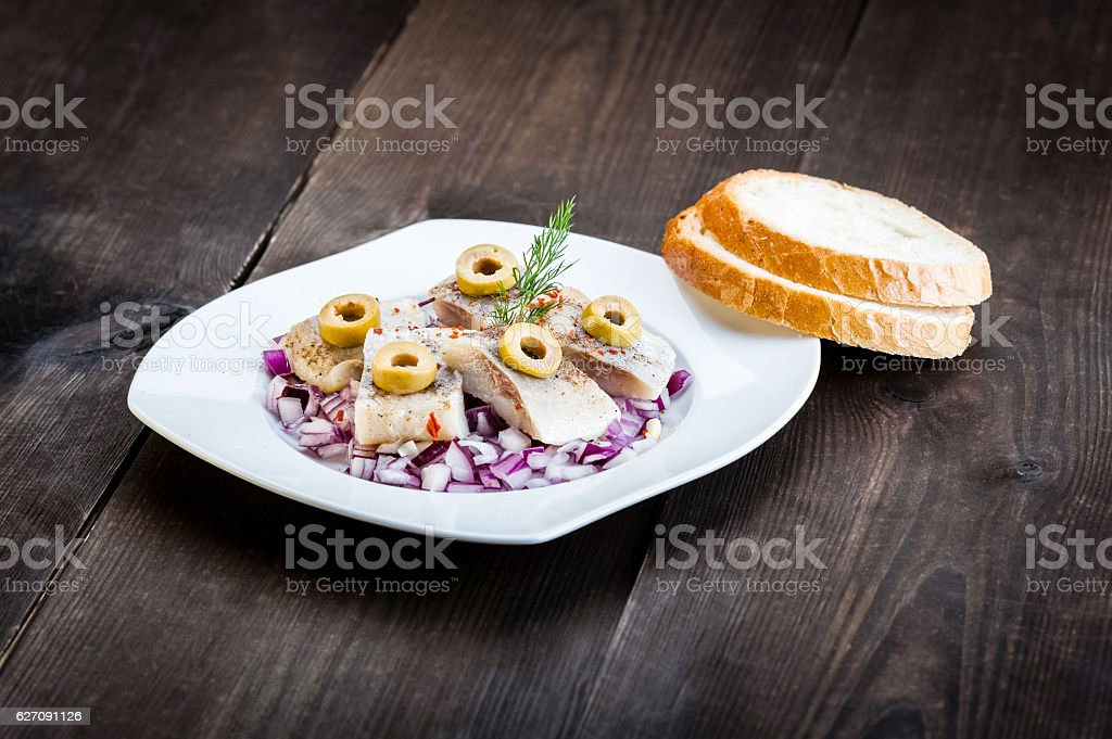 pieces of herring stock photo