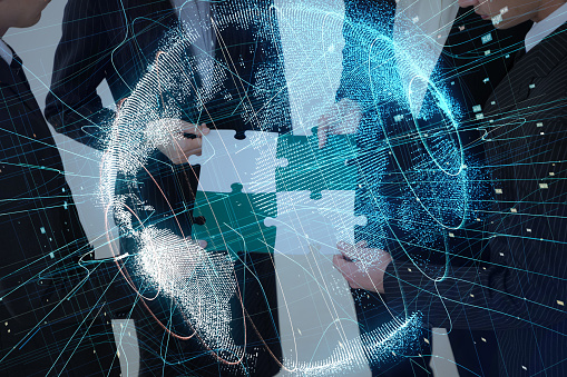 917493152 istock photo Pieces of jigsaw puzzle and global network concept. 913602348