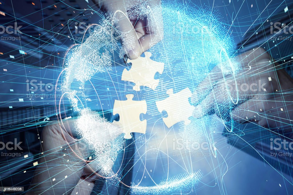Pieces of jigsaw puzzle and global network concept. - foto stock