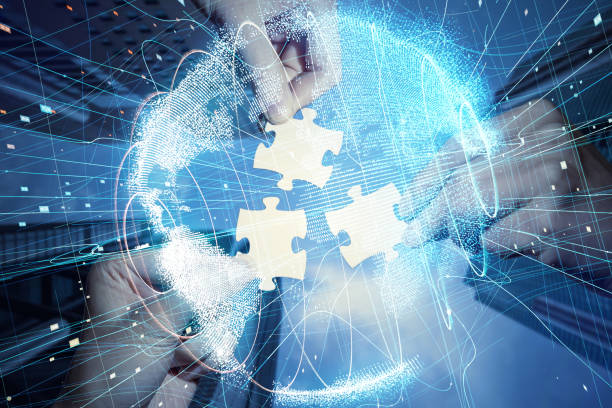Pieces of jigsaw puzzle and global network concept. stock photo