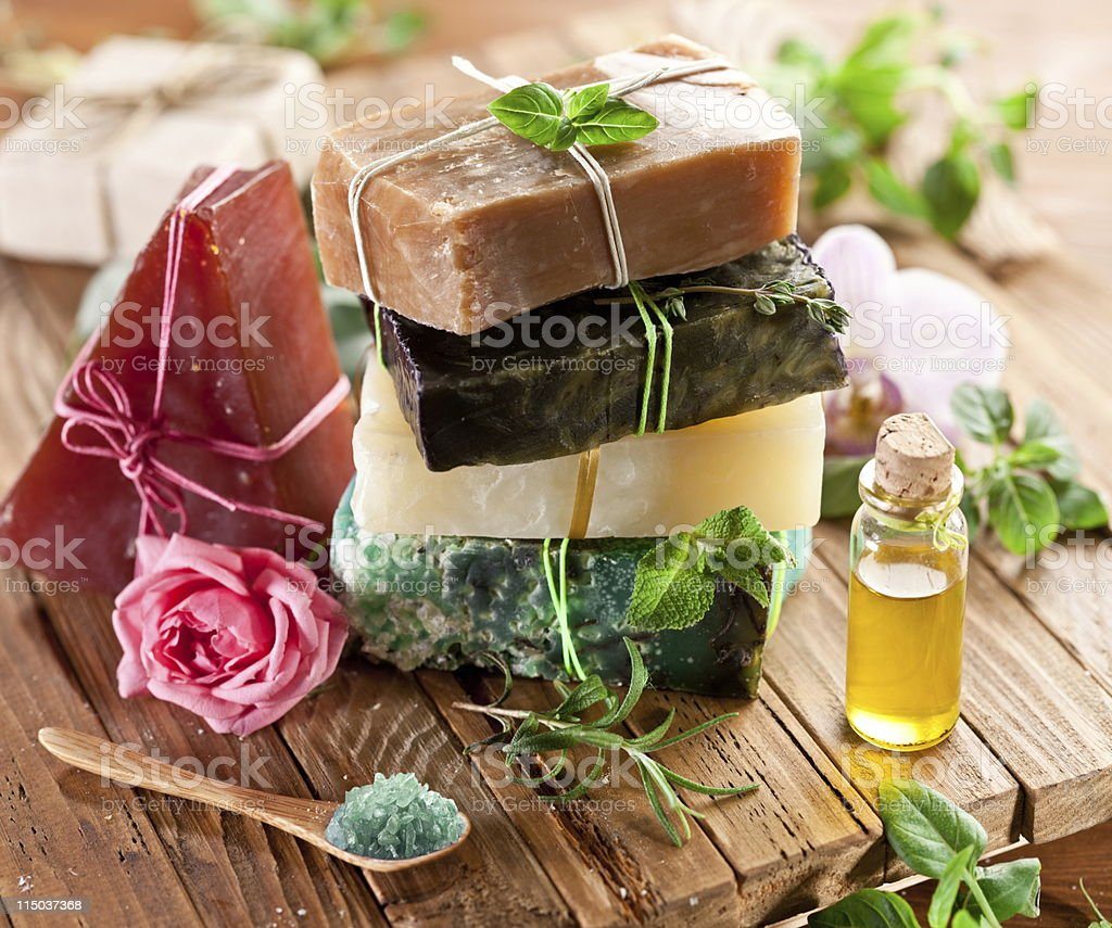 Pieces of natural soap. stock photo