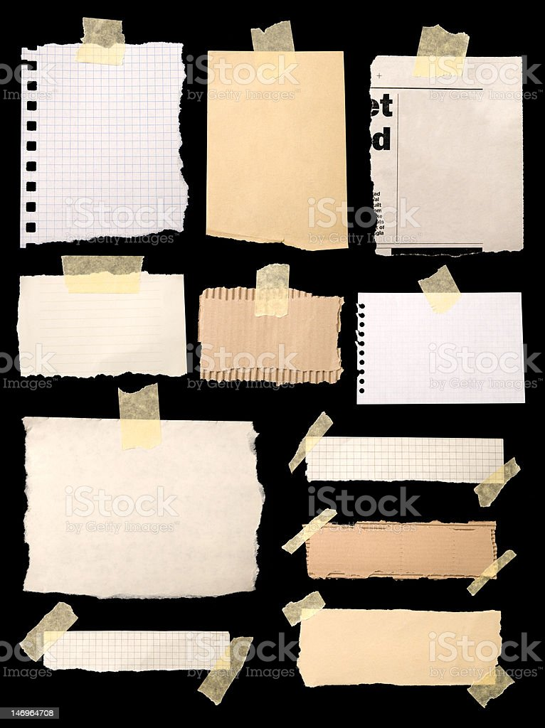 Pieces of notepaper stock photo
