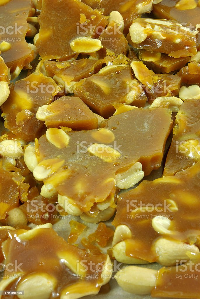 Pieces of Peanut Brittle stock photo