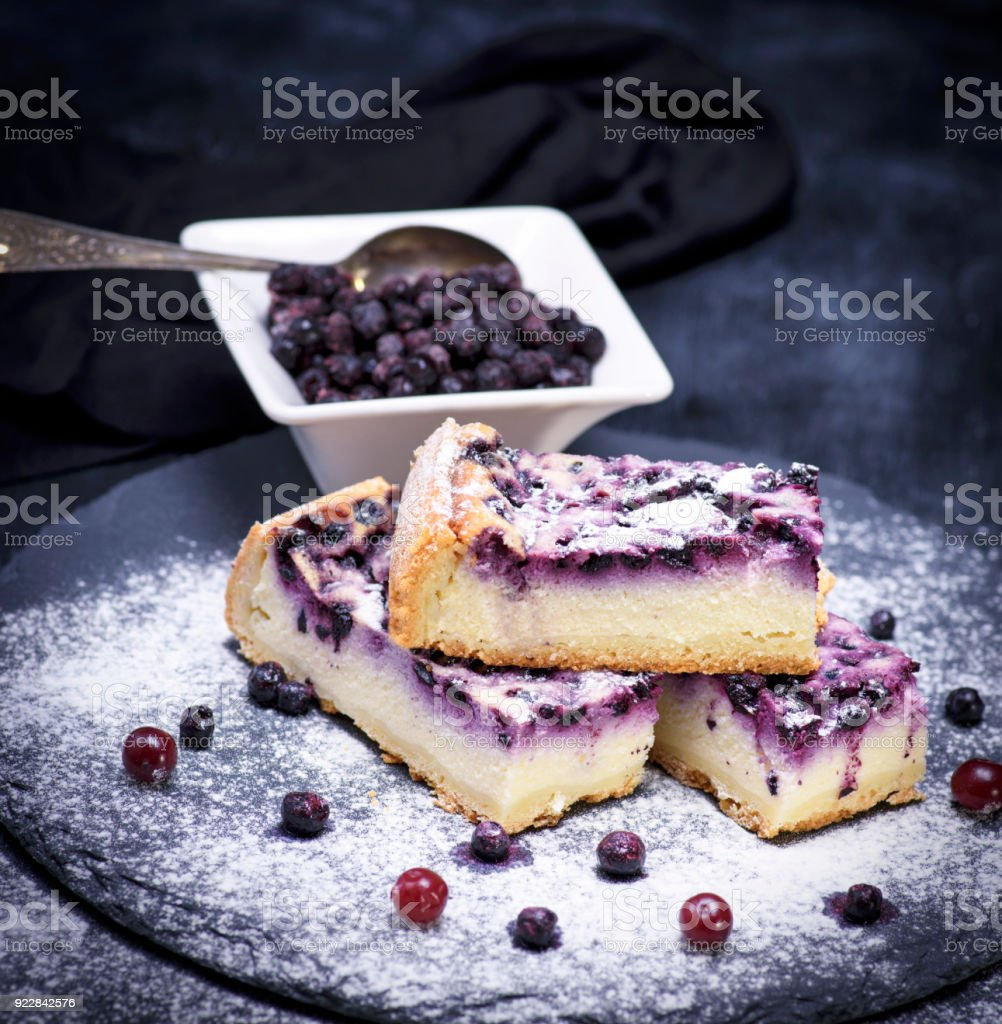 pieces of pie from cottage cheese and blueberries stock photo