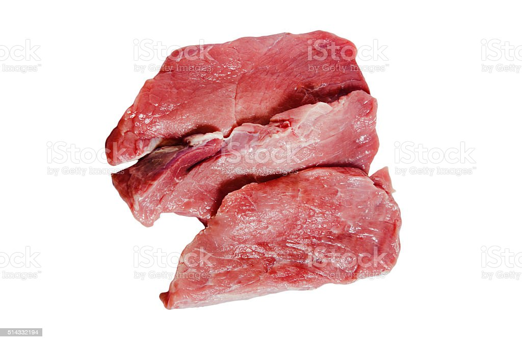 Pieces of pork isolated on white background stock photo