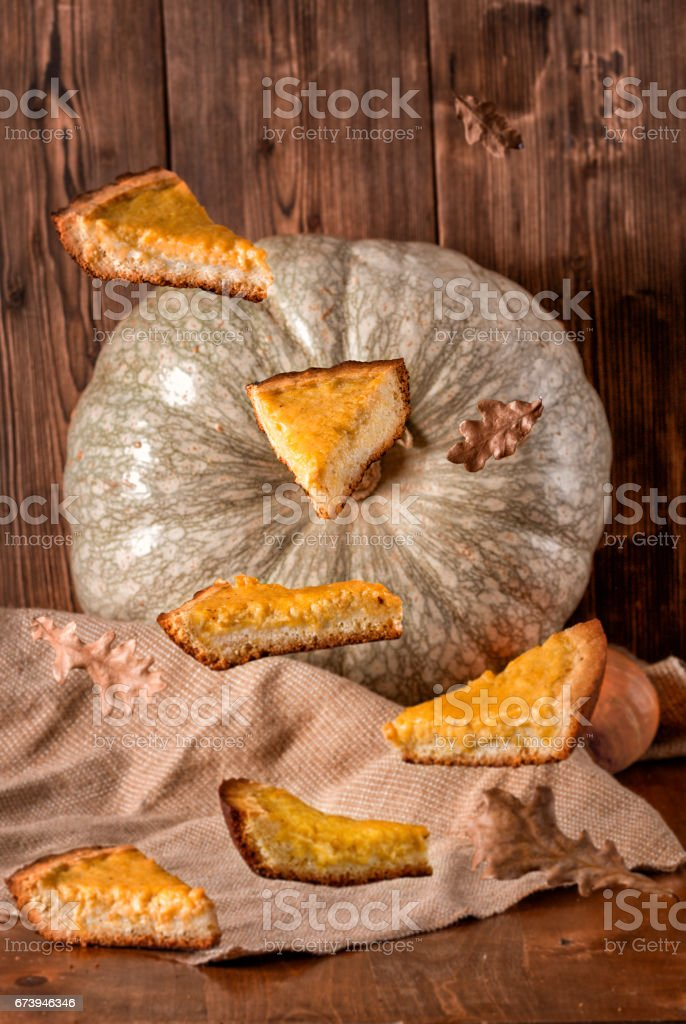 Pieces of pumpkin pie royalty-free stock photo