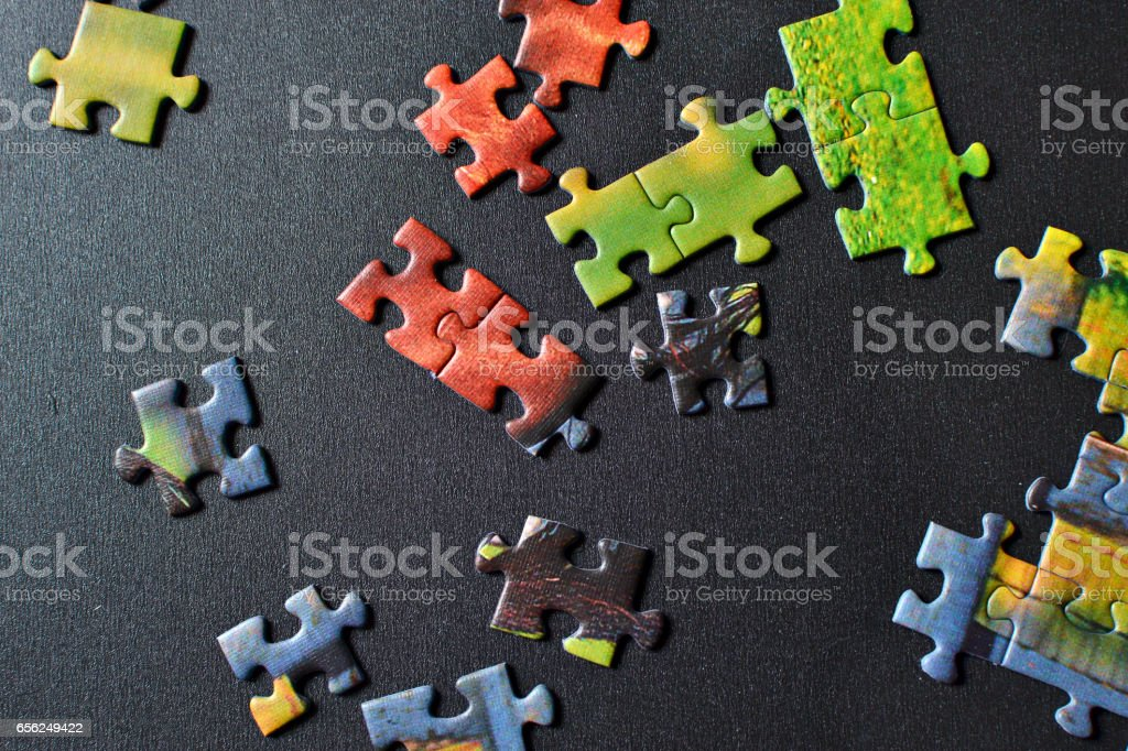 Pieces of puzzle stock photo