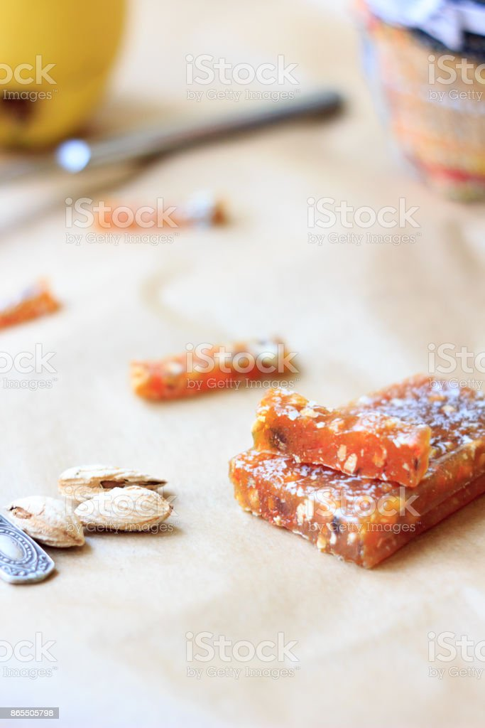 Pieces of quince jam. Delicious paste. stock photo