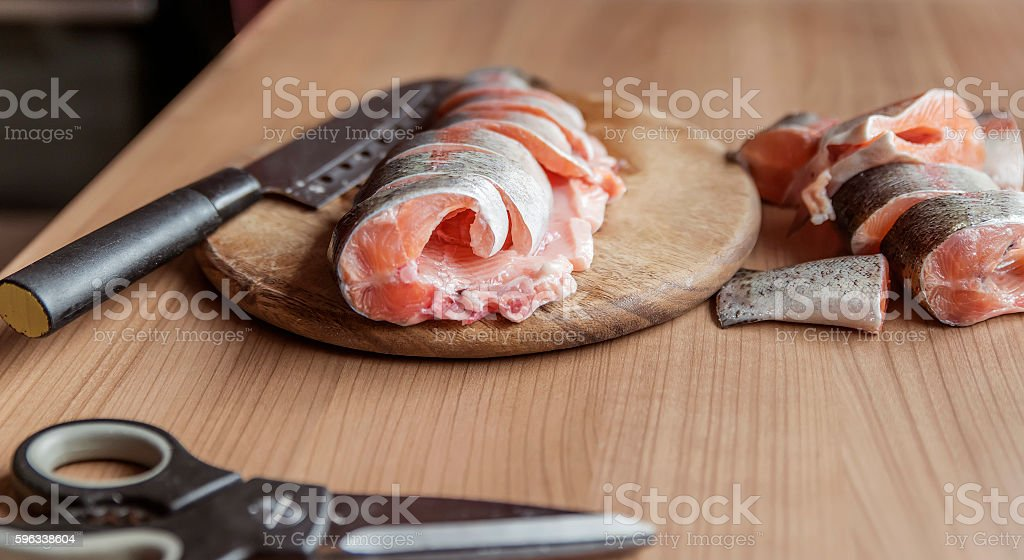 Pieces of red fresh fish royalty-free stock photo