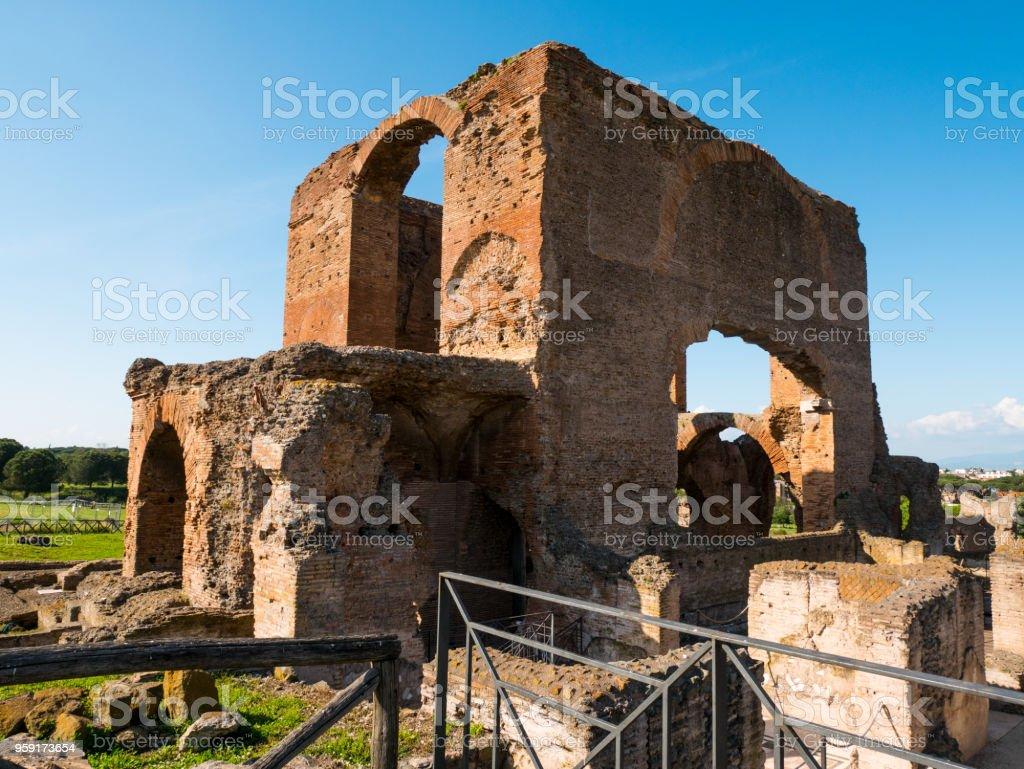 pieces of ruins of ancient Roman villas, Italy stock photo