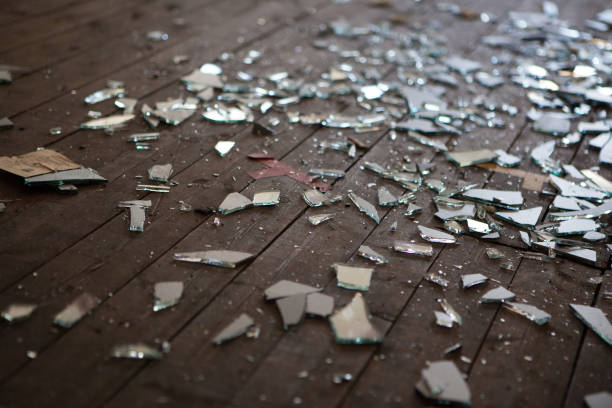Pieces of shattered glass or mirror stock photo