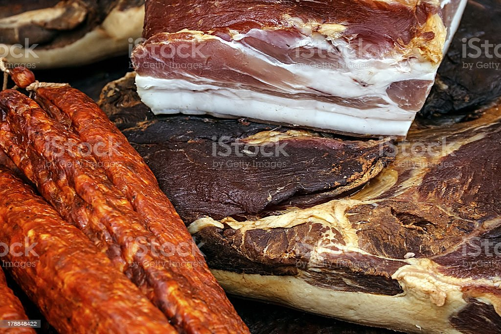 Pieces of smoked pork bacon royalty-free stock photo