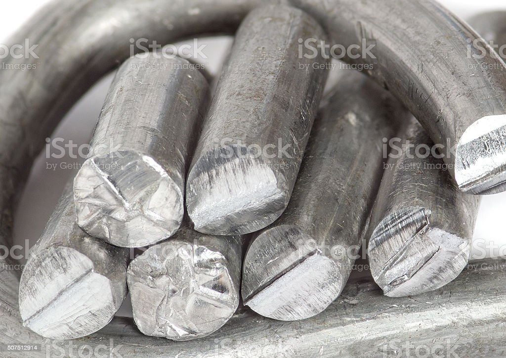 Pieces of tin wire stock photo