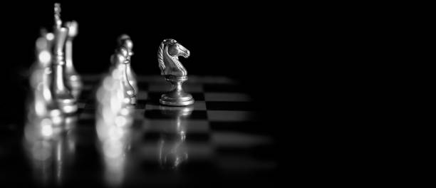 Pieces on chess board for playing game and strategy knight kingdom gaming Pieces on chess board for playing game and strategy knight kingdom gaming military attack stock pictures, royalty-free photos & images