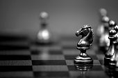 Pieces on chess board for playing game and strategy