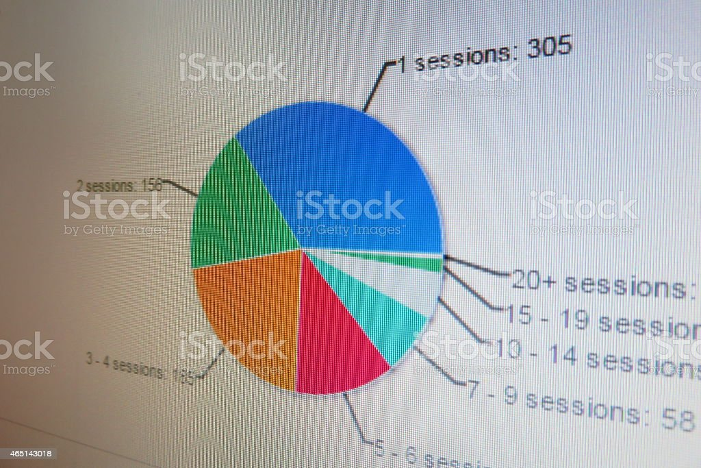 Pie-chart on futuristic background stock photo