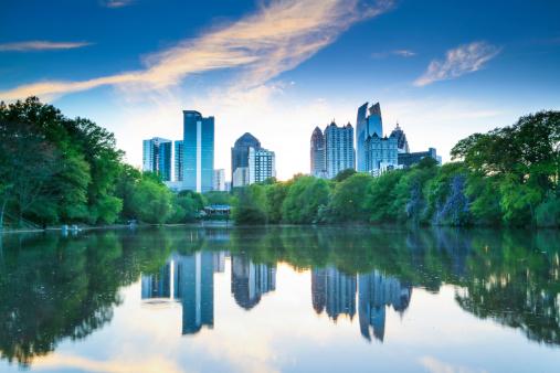 Sunset in Piedmont Park - Atlanta .