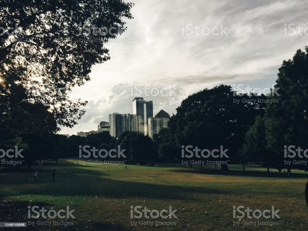 Piedmont Park view in Atlanta stock photo