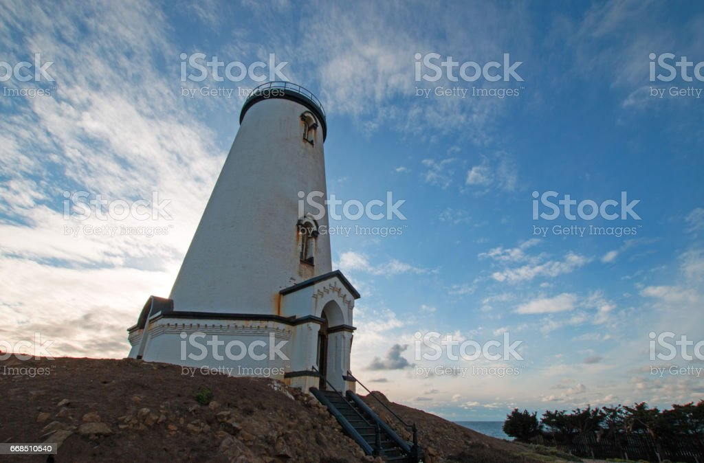 Piedras Blancas lighthouse on the Central California Coast north of San Simeon California USA stock photo