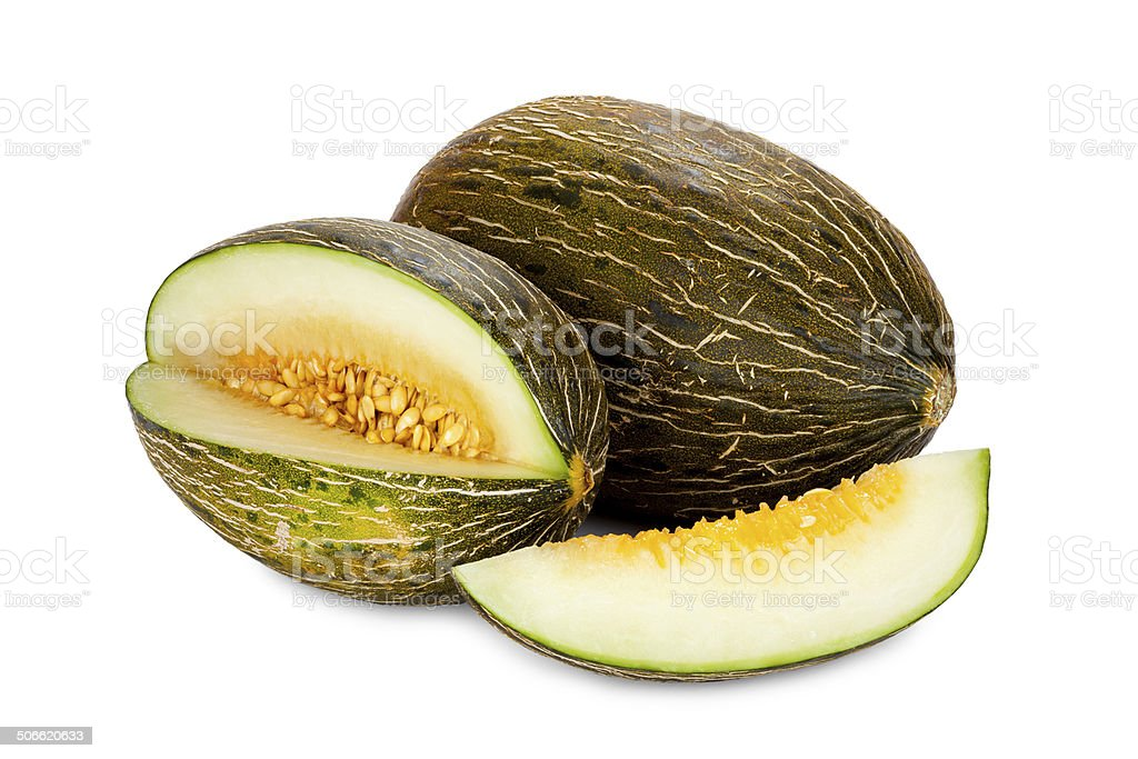 Piel de Sapo melons whole and sliced stock photo